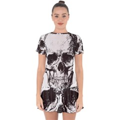 Skull Vintage Old Horror Macabre Drop Hem Mini Chiffon Dress by Sapixe