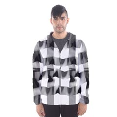 Geometry Square Black And White Hooded Windbreaker (men) by Sapixe