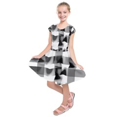 Geometry Square Black And White Kids  Short Sleeve Dress by Sapixe