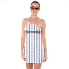 Mattress Ticking Wide Striped Pattern In Usa Flag Blue And White One Soulder Bodycon Dress by PodArtist
