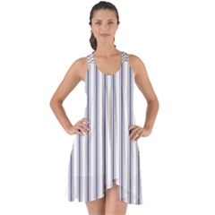Mattress Ticking Wide Striped Pattern In Usa Flag Blue And White Show Some Back Chiffon Dress by PodArtist