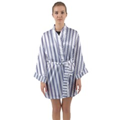 Mattress Ticking Wide Striped Pattern In Usa Flag Blue And White Long Sleeve Kimono Robe by PodArtist