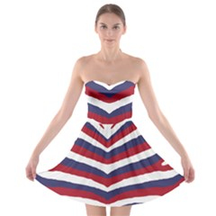 Us United States Red White And Blue American Zebra Strip Strapless Bra Top Dress by PodArtist