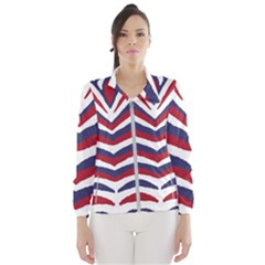 Us United States Red White And Blue American Zebra Strip Windbreaker (women) by PodArtist