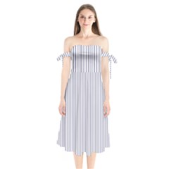Mattress Ticking Narrow Striped Pattern In Usa Flag Blue And White Shoulder Tie Bardot Midi Dress by PodArtist
