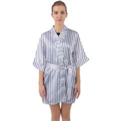 Mattress Ticking Narrow Striped Pattern In Usa Flag Blue And White Quarter Sleeve Kimono Robe by PodArtist