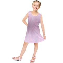 Mattress Ticking Narrow Striped Usa Flag Red And White Kids  Tunic Dress by PodArtist