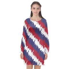 Ny Usa Candy Cane Skyline In Red White & Blue Long Sleeve Chiffon Shift Dress  by PodArtist