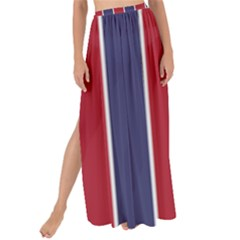 Large Red White And Blue Usa Memorial Day Holiday Vertical Cabana Stripes Maxi Chiffon Tie Up Sarong by PodArtist