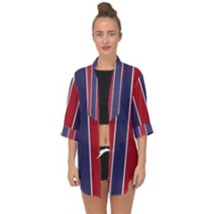 Large Red White And Blue Usa Memorial Day Holiday Vertical Cabana Stripes Open Front Chiffon Kimono by PodArtist
