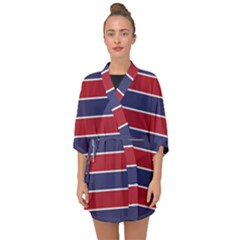 Large Red White And Blue Usa Memorial Day Holiday Horizontal Cabana Stripes Half Sleeve Chiffon Kimono