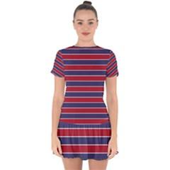 Large Red White And Blue Usa Memorial Day Holiday Pinstripe Drop Hem Mini Chiffon Dress by PodArtist