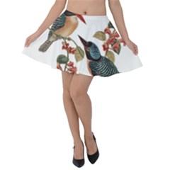 Bird Birds Branch Flowers Vintage Velvet Skater Skirt by Sapixe