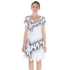Lettering Points Creative Pen Dots Short Sleeve Bardot Dress by Sapixe