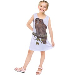 Bird Owl Animal Vintage Isolated Kids  Tunic Dress by Sapixe