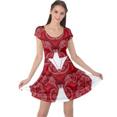 Butterfly Red Fractal Art Nature Cap Sleeve Dress