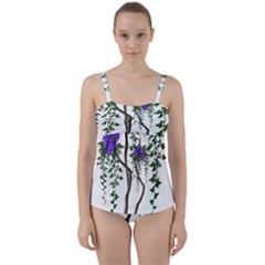 Image Cropped Tree With Flowers Tree Twist Front Tankini Set by Sapixe
