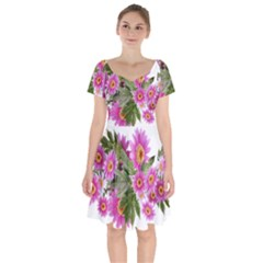 Daisies Flowers Arrangement Summer Short Sleeve Bardot Dress by Sapixe