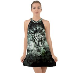 Awesome Tiger In Green And Black Halter Tie Back Chiffon Dress by FantasyWorld7