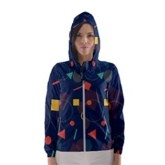 Background Backdrop Geometric Hooded Windbreaker (women) by Sapixe