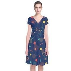 Background Backdrop Geometric Short Sleeve Front Wrap Dress