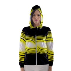 Fractal Swirl Yellow Black Whirl Hooded Windbreaker (women) by Sapixe