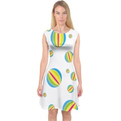 Balloon Ball District Colorful Capsleeve Midi Dress by Sapixe