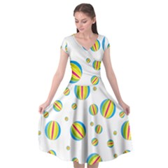 Balloon Ball District Colorful Cap Sleeve Wrap Front Dress by Sapixe