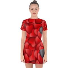 Form Love Pattern Background Drop Hem Mini Chiffon Dress by Sapixe