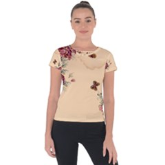 Flower Traditional Chinese Painting Short Sleeve Sports Top  by Sapixe