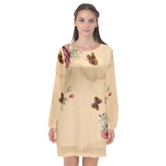 Flower Traditional Chinese Painting Long Sleeve Chiffon Shift Dress  by Sapixe