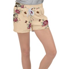 Flower Traditional Chinese Painting Women s Velour Lounge Shorts by Sapixe