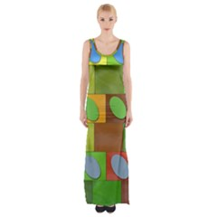 Easter Egg Happy Easter Colorful Maxi Thigh Split Dress