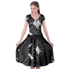 Technoid Future Robot Science Cap Sleeve Wrap Front Dress by Sapixe