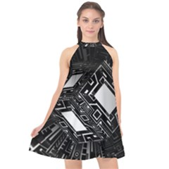 Technoid Future Robot Science Halter Neckline Chiffon Dress  by Sapixe