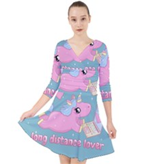 Long Distance Lover   Cute Unicorn Quarter Sleeve Front Wrap Dress by Valentinaart