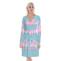 Long Distance Lover   Cute Unicorn Long Sleeve Velvet Front Wrap Dress by Valentinaart