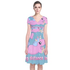 Long Distance Lover   Cute Unicorn Short Sleeve Front Wrap Dress by Valentinaart
