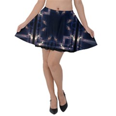 Cosmos Kaleidoscope Art Pattern Velvet Skater Skirt by Sapixe