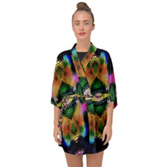 Butterfly Color Pop Art Half Sleeve Chiffon Kimono by Sapixe