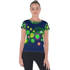 Flower Power Flowers Ornament Short Sleeve Sports Top  by Sapixe