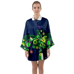Flower Power Flowers Ornament Long Sleeve Kimono Robe by Sapixe