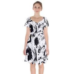 Pattern Color Painting Dab Black Short Sleeve Bardot Dress by Sapixe