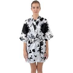 Pattern Color Painting Dab Black Quarter Sleeve Kimono Robe by Sapixe