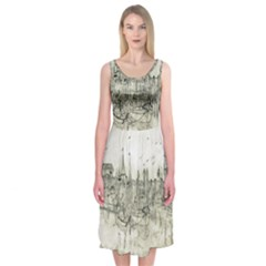 Pencil Drawing Drawing Port Midi Sleeveless Dress