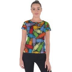 Colored Pencils Pens Paint Color Short Sleeve Sports Top  by Sapixe