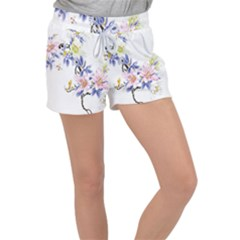 Lily Hand Painted Iris Women s Velour Lounge Shorts by Sapixe