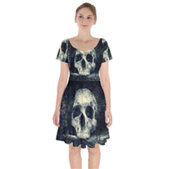 Skull Short Sleeve Bardot Dress by FunnyCow