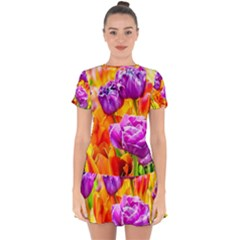 Tulip Flowers Drop Hem Mini Chiffon Dress by FunnyCow