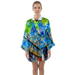 Artist Palette And Brushes Long Sleeve Kimono Robe by FunnyCow